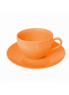 Šálka s podšálkou Color 250ml - oranžová