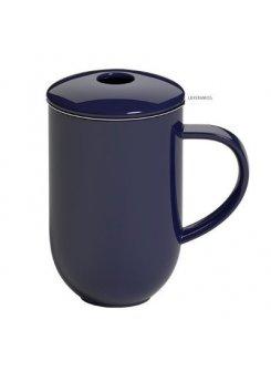 Porcelánový hrnček so sitkom a vrchnákom Pro Tea 450ml - denim (tmavo modrá)