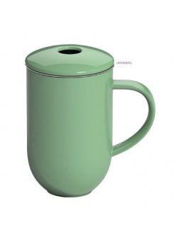 Porcelánový hrnček so sitkom a vrchnákom Pro Tea 450ml - mint