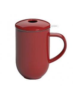 Porcelánový hrnček so sitkom a vrchnákom Pro Tea 450ml - red (červená)
