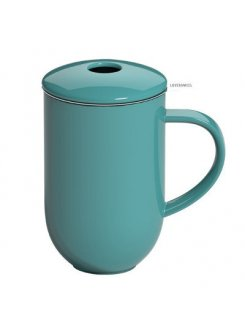 Porcelánový hrnček so sitkom a vrchnákom Pro Tea 450ml - teal (petrolejová)