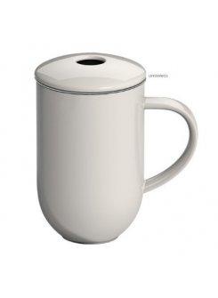 Porcelánový hrnček so sitkom a vrchnákom Pro Tea 450ml - béžová (beige)