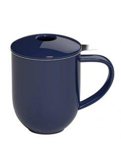 Hrnček so sitkom a vrchnákom Pro Tea 300ml - denim (tmavo modrá)