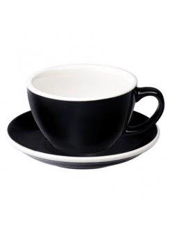 Šálka s podšálkou Egg Café Latte 300ml - black (čierna)
